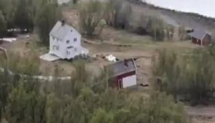 Watch Viral Video How Landslide Drags Houses Into Sea In Norway