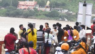 heavy water inflow krishna rivers vijayawada  - Sakshi