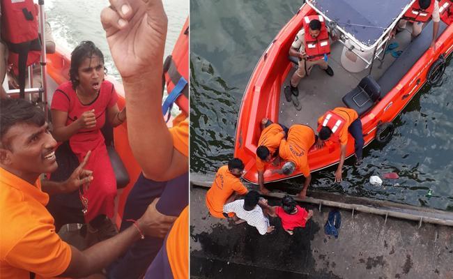 Women Jumps Into Krishna River Rescued In Vijayawada - Sakshi