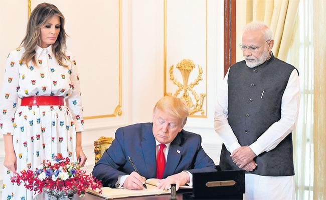 Donald trump India Visit: Trump and Modi Joint Press Meet - Sakshi