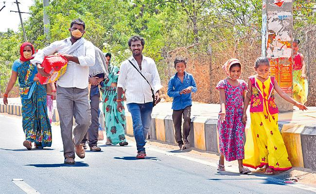 Migrant Workers Walking to Village From Sangareddy Lockdown - Sakshi