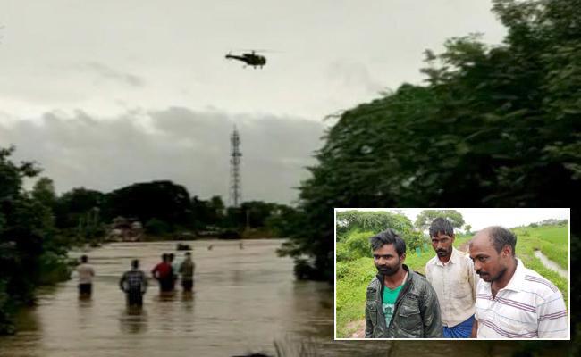 12 Farmers Trapped In River In Jayashankar District - Sakshi