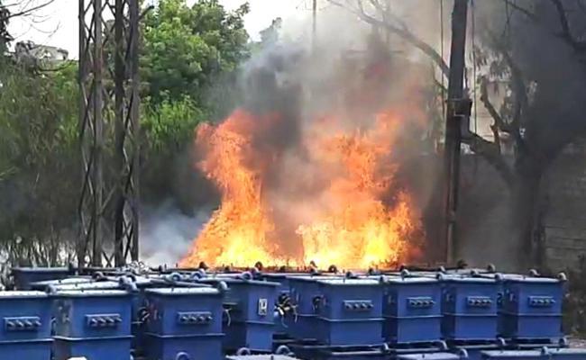Fire Accident At Karimnagar NPDCL Electrical Store - Sakshi