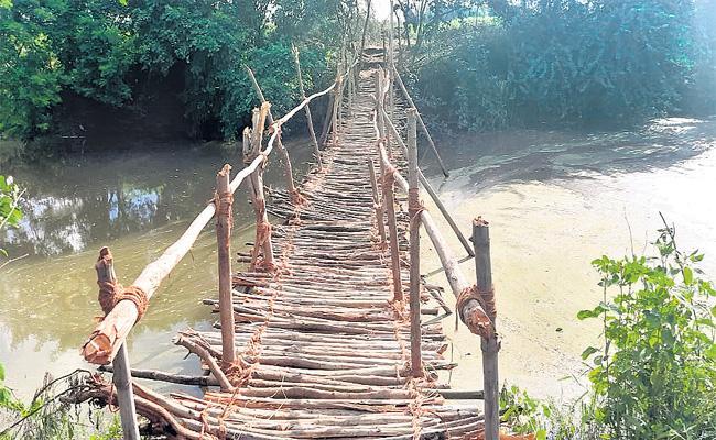 Farmers Constructed Wooden Bridge In Parigi - Sakshi