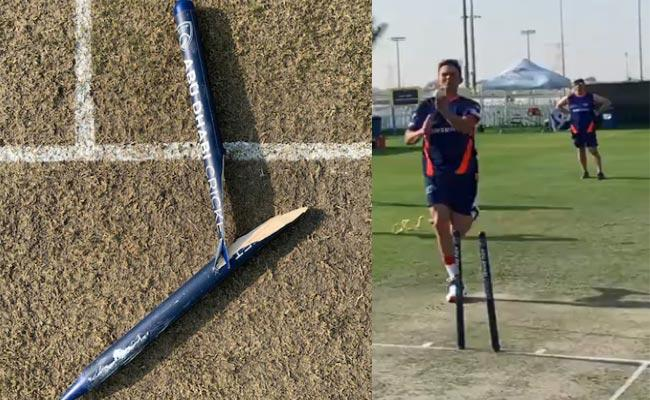 IPL 2020 : Trent Boult Breaks Stump Into Two Pieces In Training Session - Sakshi