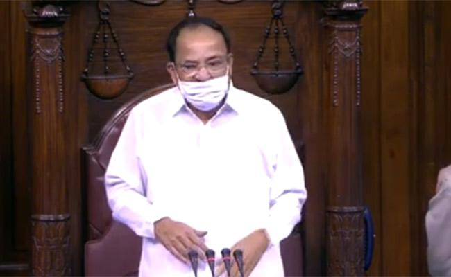 Venkaiah Naidu suspended Eight members From Rajya Sabha - Sakshi