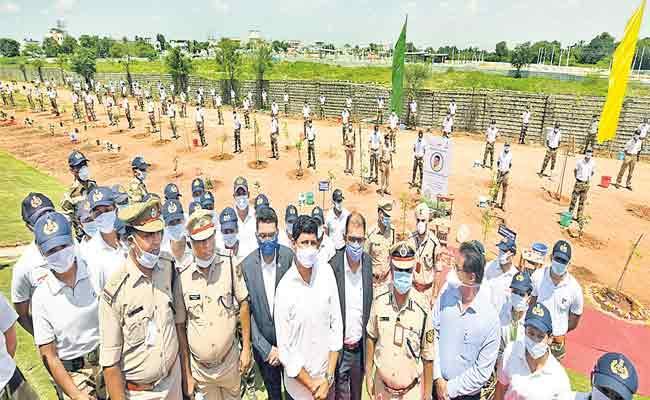 MP Santhosh kumar Planted Trees In Shamshabad - Sakshi